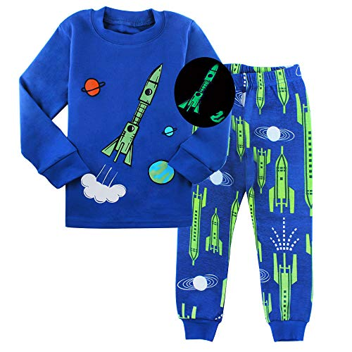 AmberEft Space 2T Pajamas for Boys Kids Clothes Toddler PJs Sets Long Sleeve Sleepwear]()