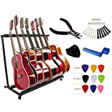 YMC Folding Multiple Guitar Stand for Acoustic Electric Guitar Bass Rack Band Stage,Includes Picks,Pick Holder,String Winder,Bridge Pins,Nut Saddle,String Cutting Plier -7 Holder