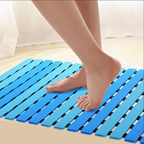 Newest Non Slip Shower Floor Mat with Drain Hole by ifrmmy- Anti-Slip and Mold Resistant, 24.8'' x 15.7'' (blue)