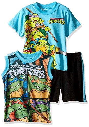 Teenage Mutant Ninja Turtles Baby Boys' 3pc Top and Short Set, Blue, 18 Months (Ninja Turtle Blue)