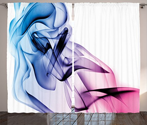 Ambesonne Abstract Home Decor Curtains, Abstract Artwork with Colorful Smoke Dynamic Flow Swirl Contemporary Home Art, Living Room Bedroom Decor, 2 Panel Set, 108 W X 84 L Inches, Fuchsia Blue ()