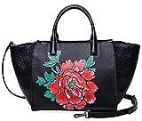 PIJUSHI Women Top Handle Handbag Satchel Floral Bag 17805(One Size, Black/Red)