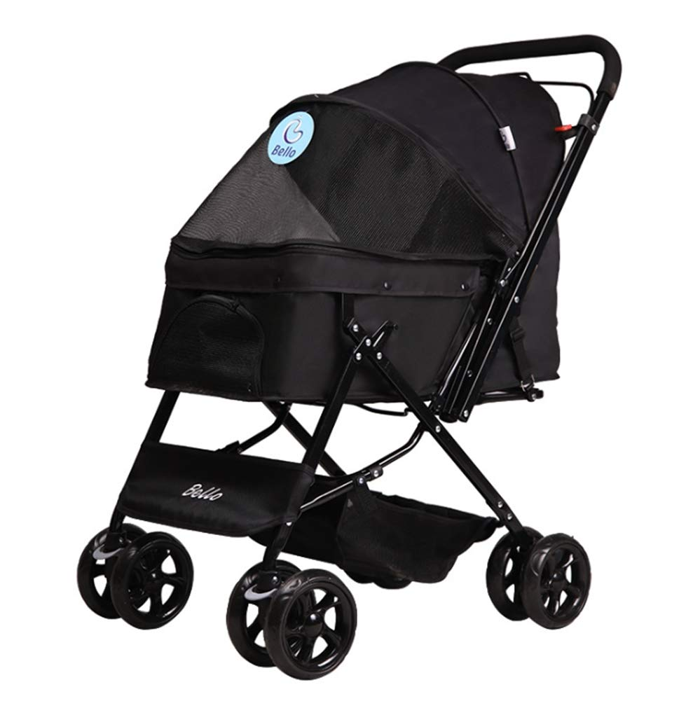Black Pet Stroller with Handle Reversion Function Foldable Pushchair for Dogs and Cats, Built-in Traction Belt and Soft Mat Suitable for 25 kg
