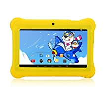 iRULU 7 Inch Kids Android Tablet PC, 1024600 HD Resolution, 1GB RAM, 8GB Nand Flash, Children World, Google Play Store, Wi-Fi, Games, Dual Cameras (Yellow)