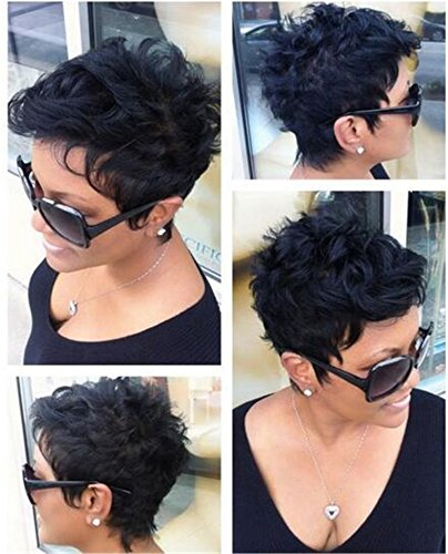 [ATOZWIG Stylish Short Curly Black Synthetic Hair Wigs] (Cheap Color Wigs)