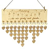 (US) ULTNICE Wooden Calendar Hanging Birthday Calendar Reminder Family Plaque for Home Decor