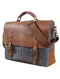 Lifewit Men Briefcase Leather Canvas Laptop Satchel Messenger Work Bag Fit up to 15.6-inch, Grey
