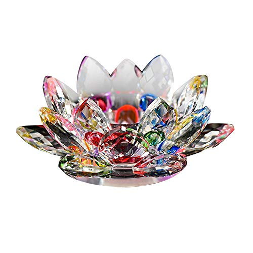 NszzJixo9 7 Colors Three Layers of Lotus Petal Design Crystal Glass Lotus Flower Candle Tea Light Holder Buddhist Candlestick (B)