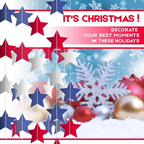 Stars (4 Packs) Garlands Decorations christmas new year party decoration 8.75yards- 96 stars -Soria.Premium -