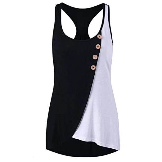 803e91e0c9fb NREALY Women Casual Button Patchwork T-Shirt Sleeveless Vest Tank Tops  Blouse Tee at Amazon Women's Clothing store: