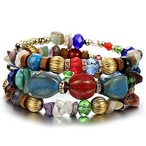 - Mikash Boho Multilayer Natural Stone Bead Tassel Pendant Chain Bracelet Charm Women Set | Model BRCLT - 11588 |