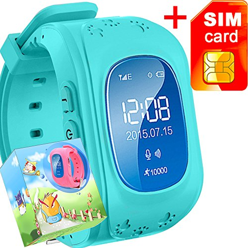 GBD GPS Tracker Smart Watch for Kids with Sim Card Smartwatch Phone Anti-lost Finder SOS Gprs Children Fitness Tracker Wrist Watch Bracelet with Pedometer Parents Control App for Smartphone(Blue)