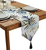 ZebraSmile Various Sizes 100% Polyester Leaves Table Runners with Tassels for Dining Table Decoration Home Decor 13 X 48 inches
