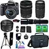 Canon EOS Rebel T6S DSLR Camera & 18-135mm IS STM & 75-300mm III & 50mm f/1.8 II & Telephoto 500mm. PagingZone Kit Includes, 2 Pcs - 16GB Class 10 Memory Card + Canon Bag + Flash + Tripod + UV Filter