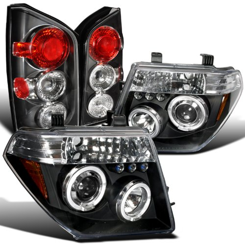 Nissan Pathfinder Black Led Halo Projector Headlight+Rear Tail - Lamp Pathfinder Nissan Tail