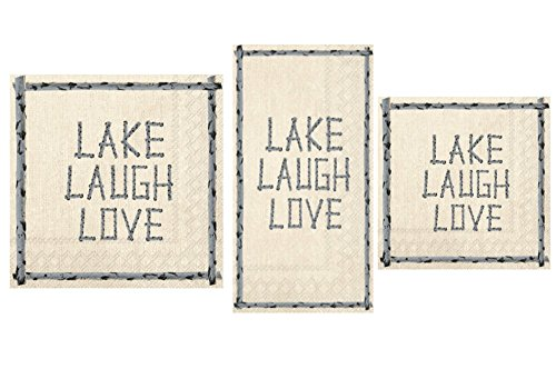Lake Theme Napkins Set - Bundle Includes Guest Towels, Lunch Napkins, and Beverage Napkins in a Lake Laugh Love Design