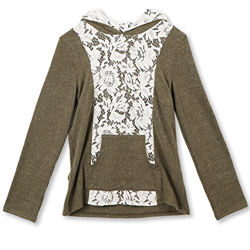 Hooded Lace (Speechless Big Girls' Lace Front Hooded Pullover Sweatshirt, Olive Ivory, Medium)