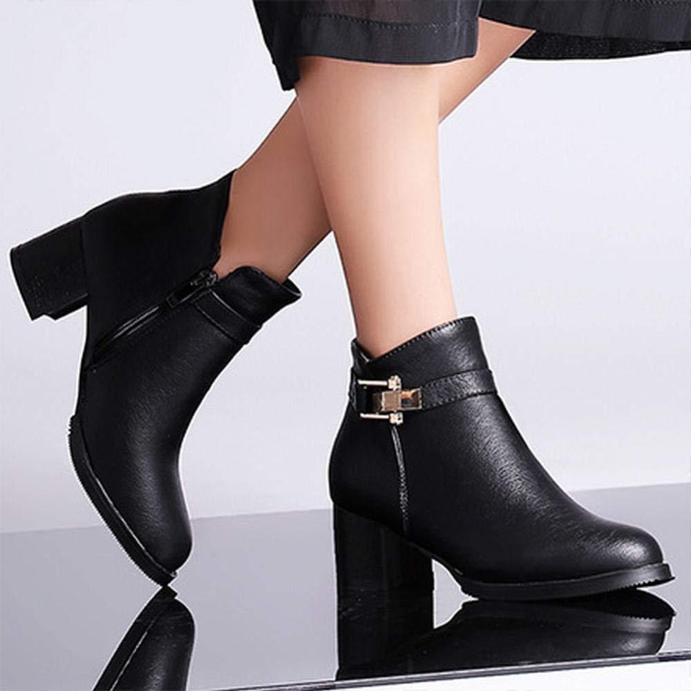 Damenschuhe - Hochhackige Mode Damenschuhe Herbst und Winter Warme Damenschuhe Reißverschluss 36-43 (Farbe   Schwarz Größe   41)