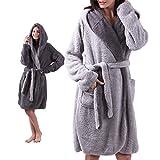 ALL AOER Hooded Bathrobe Womens, Wear Reversible Ladies Short Sherpa Robes, Pink Cozy Lightweight