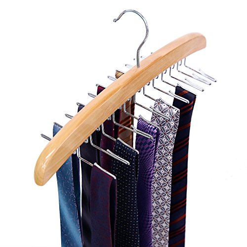 Ohuhu Wooden Tie Rack Hangers Rotating Twirl 24 Tie Organizer Rack Hanger Holder Hook ()