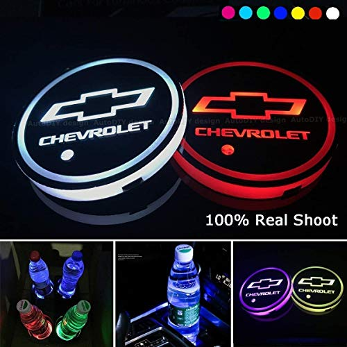 LED Car Cup Holder Lights 7 Colors Changing USB Charging Mat Auto Sport Luminescent Cup Pad LED Interior Atmosphere Lamp 2pcs for Chevrolet