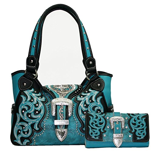 Western Studded Embroidered Rhinestone Conealed Carry Gun Purse Handbag Wallet Set - Turquoise (Rhinestone Purse And Wallet Set)