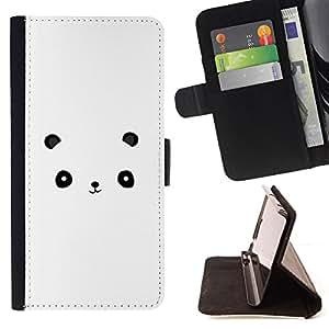 CARTOON WHITE MINIMALIST PANDA CUTE/ Personalizada del estilo del dise???¡Ào de la PU Caso de encargo del cuero del tir????n del soporte d - Cao - For Apple Iphone 5C