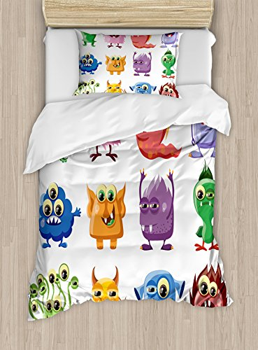Funny Duvet Cover Set Twin Size by Ambesonne, Animated Bacteria Aliens Theme Germ Whimsical Cartoon Monsters Humor Faces Graphic, Decorative 2 Piece Bedding Set with 1 Pillow Sham, Multicolor (Alien Duvet)