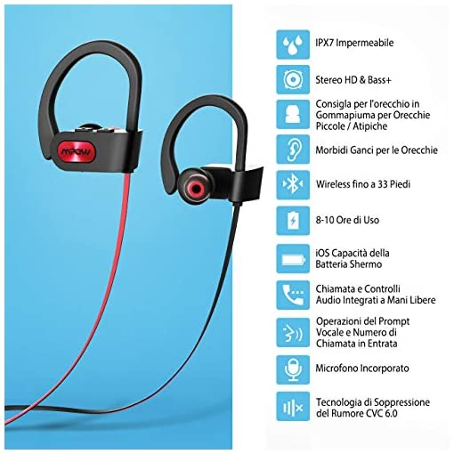 Cuffie Wireless Sport Bass+, Mpow IPX7 Flame Auricolari Bluetooth Sport CVC 6.0, con Qualit? Audio HD e Stabile, Cuffie Bluetooth 4.1 In-ear con Eva Borsa per iPhone(IOS), Android – Rosso