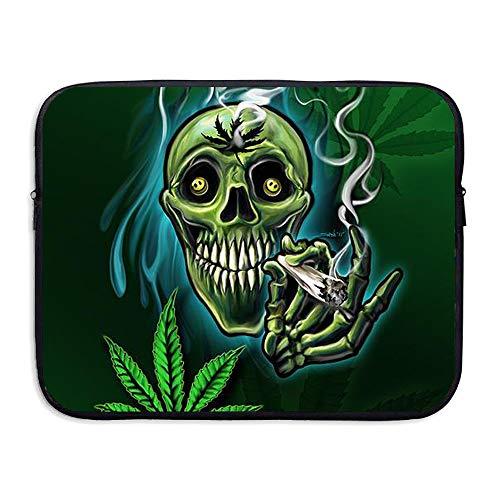 Leaf Sleeve Green Laptop (Summer Moon Fire Water-Resistant Laptop Bags Green Marijuana Weed Leaf Skull Smoke Ultrabook Briefcase Sleeve Case Bags)