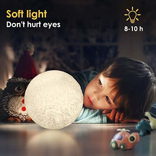 GreenClick Dimmable LED Moon Lamp 3 Color Baby Night Light, 3D Lunar Lamp Touch Control Ambient Light Rechargeable Home Decorative Hanging Light With Wood Holder, Diameter 5.1 In