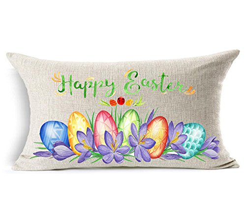 Happy Easter watercolor flowers basket plant colorful eggs T