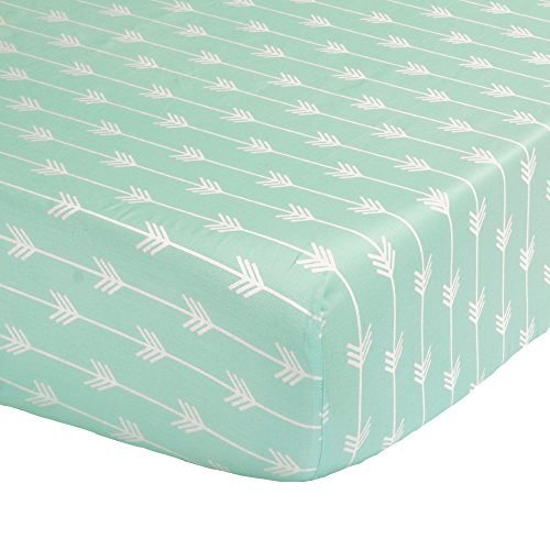 Mint Green Arrow Print Fitted Crib Sheet – 100% Cotton Baby Girl and Boy Tribal Theme Geometric Designs Nursery and Toddler Bedding