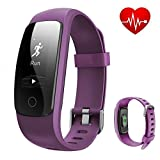 REDGO ID107 Plus Fitness Tracker Heart Rate Monitor Sport Bracelet, Bluetooth 4.0 Waterproof Pedometer Wristband for Running Walking Hiking Sleep Cycling Tennising Fishing Boating, Purple