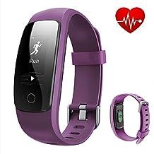 REDGO ID107 Plus Fitness Tracker Heart Rate Monitor Sport Bracelet, Bluetooth 4.0 Waterproof Pedometer Wristband for Running Walking Hiking Sleep Cycling Tennising Fishing Boating, Purple
