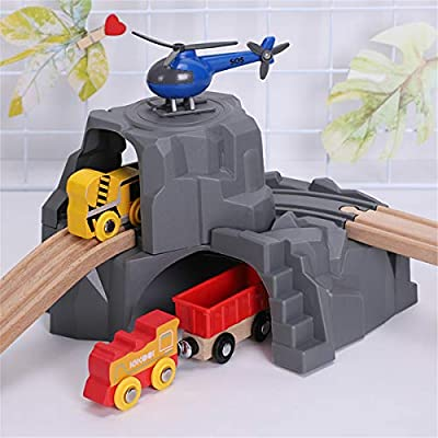 Train Tunne-Plastic Grey Double Tunnel Wooden Train Track Accessories for Tunnel Track Train: Kitchen & Dining