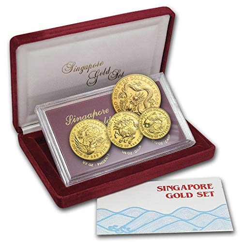 SG 1984 Singapore 4-Coin Gold Set BU Brilliant Uncirculated (Set Gold Coin Dragon)