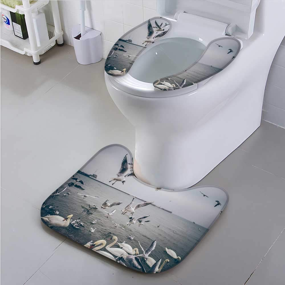 PRUNUS Toilet Cushion Suit A Large Area of migratory Birds Non Slip Comfortable