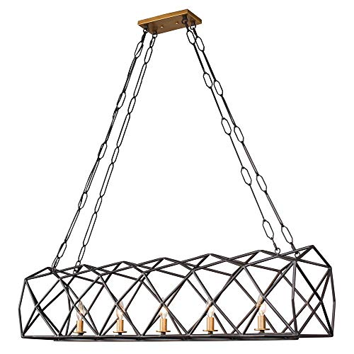 - Varaluz 295N05AGRB Geo 5-Light Linear Pendant - Antique Gold with Rustic Bronze