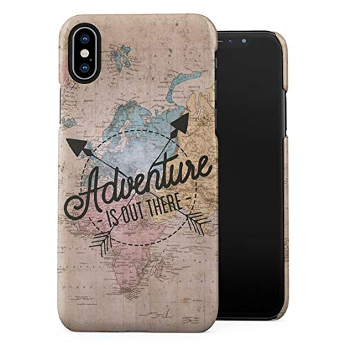 Exploring World Map Travel Trip Adventure is Out There Wanderlust Plastic Phone Snap On Back Case Cover Shell Compatible with iPhone Xs Max
