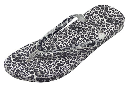 Easemax Women's Sexy Thong Leopard Prints Flip Flop Slippers Sandals White women 7.5 B(M) US