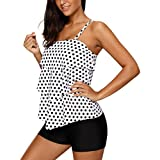 Dearlove Women Retro Polka Dot Ruffle Halter Tankini Top Two Piece Swimsuit
