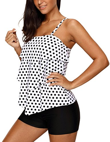 Ruffle Halter Tankini Top - Summer Women Retro Black White Polka Dot Ruffle Halter Padded Tankini Top Two Piece Swimsuit with Swim Shorts Swimwear Plus Size XL 14 16