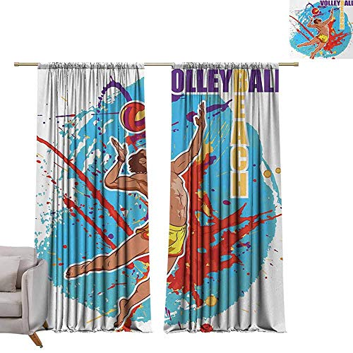 Best Blackout Curtains Beach,Vector Illustration of a Man Serving an Overhead Ball in Beach Volley Print,Sky Blue and Red W84 x L96 Blackout Curtain Set