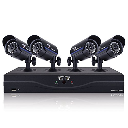 Night Owl Security L-85-4511 8-Channel 960H DVR with 500GB HDD HDMI 4 Night Vision Cameras and Free Night Owl Lite App (Black)