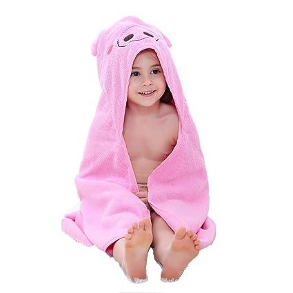 ZMH Toalla de baño con Capucha para niños de 1 a 7 años de Edad, Bata ...
