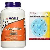 AHORA L-Arginina 500 mg, 250 cápsulas con gratis 7 días plástico píldora organizadores