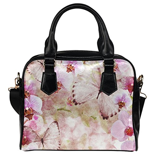 - CASECOCO Pink Cherry Blossom Butterfly Women's PU Leather Purse Handbag Shoulder Bag