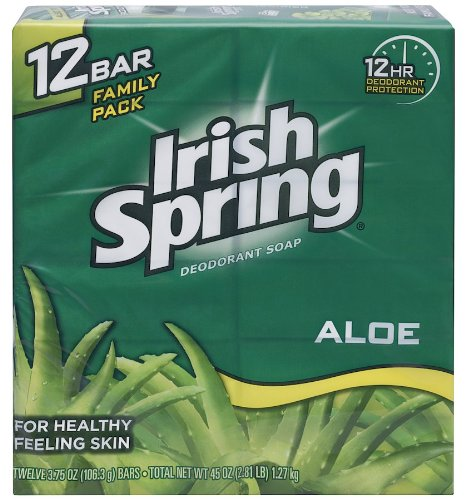 - Irish Spring Bath Bar Soap, Aloe, 3.75 oz Bars, 12-Count