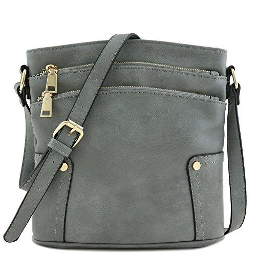 Triple Zip Pocket Medium Crossbody Bag Grey (Crossbody Purse Grey)